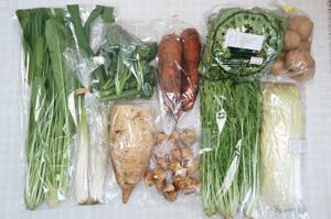 3月2日の無施肥無農薬栽培と自然栽培の定期宅配Mセット/大根、ジャガイモ(出島)、菊芋、ニンジン、白菜、レタス、水菜、ネギ、壬生菜、茎ブロッコリー
