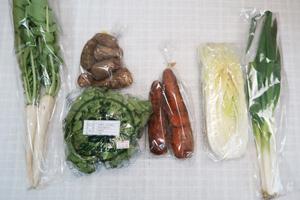 3月2日の無施肥無農薬栽培と自然栽培の定期宅配Sセット/里芋、ニンジン、白菜、レタス、ネギ、大根葉(中抜き葉)