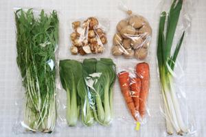 3月13日の無施肥無農薬栽培と自然栽培の定期宅配Sセット/ジャガイモ(出島)、菊芋、ニンジン、水菜、青梗菜(チンゲン菜)、ネギ