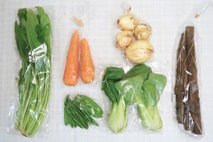 5月15日の無施肥無農薬栽培と自然栽培の定期宅配Sセット/新玉ねぎ、春堀りゴボウ、絹さや、青梗菜(チンゲン菜)、壬生菜、ニンジン