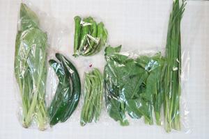 7月3日の無施肥無農薬栽培と自然栽培の定期宅配Sセット/キュウリ、万願寺とうがらし、越谷インゲン、小松菜、ツルムラサキ、ニラ