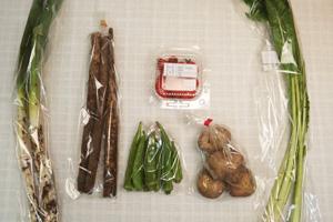 10月16日の無施肥無農薬栽培と自然栽培の定期宅配Sセット/ジャガイモ(男爵)、ゴボウ、長ネギ、オクラ、野沢菜、ミニトマト