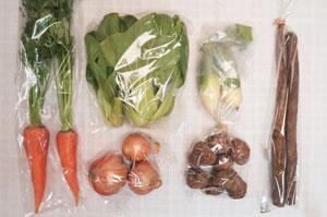12月4日の無施肥無農薬栽培と自然栽培の定期宅配Sセット/青大根、玉ねぎ、里芋、葉付きニンジン、ゴボウ、青梗菜(チンゲン菜)