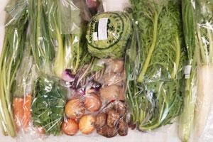 12月7日の無施肥無農薬栽培と自然栽培の定期宅配Lセット/大根、石徹白蕪(いとしろかぶら)、玉ねぎ、ジャガイモ(北あかり)、里芋、葉付きニンジン、レタス、小松菜、青梗菜(チンゲン菜)、菊菜、わさび菜、壬生菜、野沢菜、菜の花、ニンニクの葉
