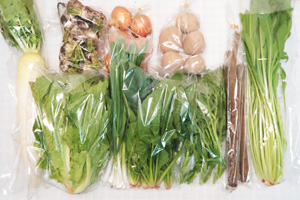 12月14日の無施肥無農薬栽培と自然栽培の定期宅配Mセット/大根、小カブ、玉ねぎ、ジャガイモ(北あかり)、ゴボウ、ロメインレタス、菊菜、壬生菜、ほうれん草、ニンニクの葉