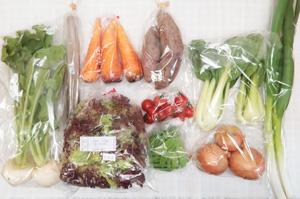 4月2日の無施肥無農薬栽培と自然栽培の定期宅配Mセット/小カブ、ニンジン、サツマイモ、ゴボウ、玉ねぎ、サニーレタス、青梗菜(チンゲン菜)、九条細ネギ、絹さや、ミニトマト