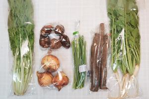 4月19日の無施肥無農薬栽培と自然栽培の定期宅配Sセット/大根葉(中抜き葉)、新玉ねぎ、里芋、ゴボウ、水菜、ニンニクの芽