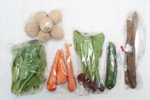 6月4日の無施肥無農薬栽培と自然栽培の定期宅配Sセット/ジャガイモ(花標津)、ニンジン、ゴボウ、ズッキーニ、ラディッシュ、小松菜