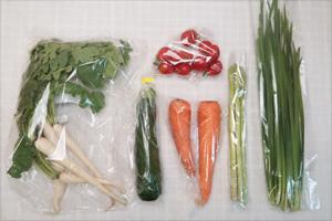 6月18日の無施肥無農薬栽培と自然栽培の定期宅配Sセット/ニンジン、ズッキーニ、アスパラ、大根葉(中抜き葉)、ニラ、ミニトマト
