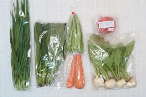 6月21日の無施肥無農薬栽培と自然栽培の定期宅配Sセット/小カブ、ニンジン、インゲン、小松菜、ニラ、トマト