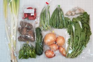8月2日の無施肥無農薬栽培と自然栽培の定期宅配Mセット/玉ねぎ、ジャガイモ(メークイン)、マクワウリ、ズッキーニ、ししとう、インゲン、オクラ、ルッコラ、ニンニク、長ネギ