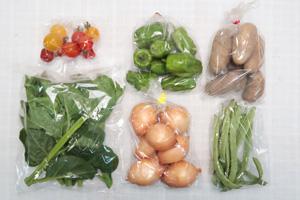 8月6日の無施肥無農薬栽培と自然栽培の定期宅配Sセット/玉ねぎ、ジャガイモ(メークイン)、ピーマン、インゲン、ツルムラサキ、ミニトマト