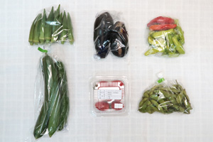 8月16日の無施肥無農薬栽培と自然栽培の定期宅配Sセット/キュウリ、水茄子、ししとう、枝豆、オクラ、ミニトマト