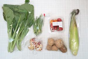 10月1日の無施肥無農薬栽培と自然栽培の定期宅配Sセット/ジャガイモ(男爵)、トウモロコシ、オクラ、小松菜、ミニトマト、新生姜