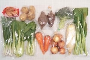 1月7日の無施肥無農薬栽培と自然栽培の定期宅配Mセット/大根、玉ねぎ、ジャガイモ(出島)、サツマイモ、ニンジン、ブロッコリー、小松菜、青梗菜(チンゲン菜)、ニンニクの葉、新生姜