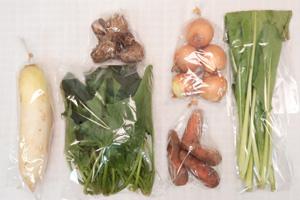 1月7日の無施肥無農薬栽培と自然栽培の定期宅配Sセット/大根、玉ねぎ、里芋、ニンジン、小松菜、ほうれん草