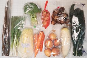 1月10日の無施肥無農薬栽培と自然栽培の定期宅配Mセット/大根、玉ねぎ、里芋、ニンジン、ゴボウ、ブロッコリー、白菜、黒キャベツ、ニンニクの葉、新生姜