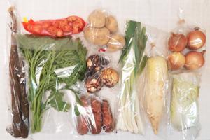 1月14日の無施肥無農薬栽培と自然栽培の定期宅配Mセット/大根、玉ねぎ、ジャガイモ(出島)、里芋、ニンジン、ゴボウ、白菜、菊菜、九条ネギ、新生姜