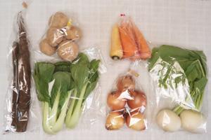 1月17日の無施肥無農薬栽培と自然栽培の定期宅配Sセット/小カブ、玉ねぎ、ジャガイモ(出島)、ニンジン、ゴボウ、青梗菜(チンゲン菜)