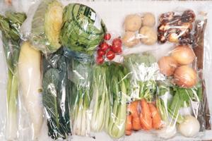 1月21日の無施肥無農薬栽培と自然栽培の定期宅配Lセット/大根、小カブ、玉ねぎ、ジャガイモ(出島)、里芋、ニンジン、ゴボウ、レタス、キャベツ、青梗菜(チンゲン菜)、黒キャベツ、菜の花、九条ネギ、ニンニクの葉、ミニトマト