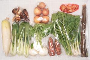 1月21日の無施肥無農薬栽培と自然栽培の定期宅配Mセット/大根、小カブ、玉ねぎ、里芋、ニンジン、ゴボウ、青梗菜(チンゲン菜)、菊菜、ニンニクの葉、新生姜